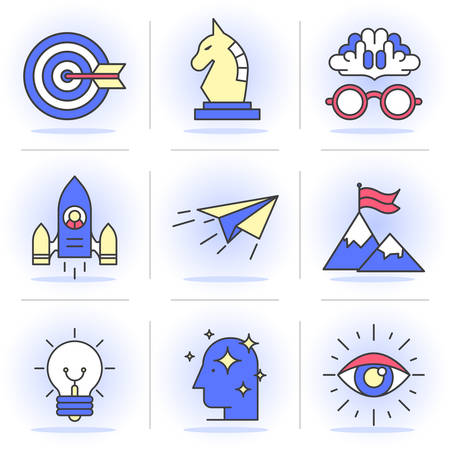 business opportunity: Flat Line Icons Set. Tactics and strategy, achievement and upgrading of skills. Isolated Objects in a Modern Style for Your Design
