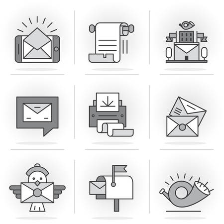 telegrama: Flat Line Icons Set. E-mail, Post Office, a Communication Method. Isolated Objects in a Modern Style for Your Design.