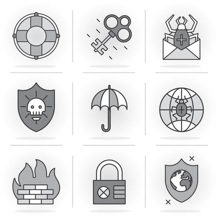kidnapping: Set of vector icons into flat style.Threat and security, Kidnapping and Data Protection. Isolated Objects in a Modern Style for Your Design.