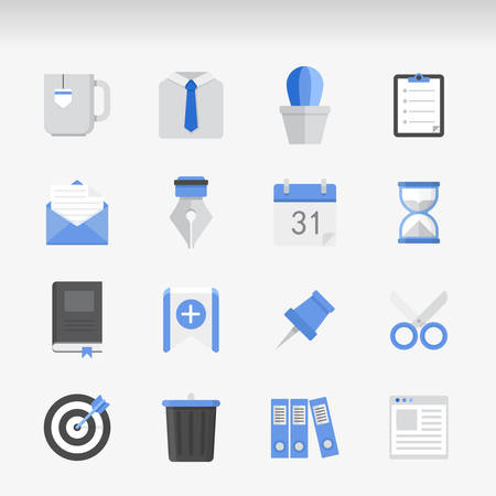 appointment book: Set of Office modern Icons Executed in Flat style. Illustration
