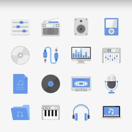 frequency modulation: Set of modern Icons Executed in Flat style. Music and radio