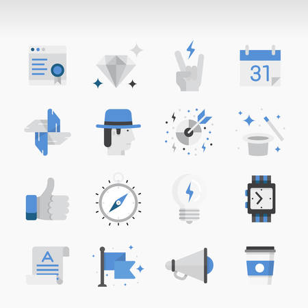 pr: Set of modern Icons Executed in Flat style. Business theme, start-up, promotion, services, and marketing.