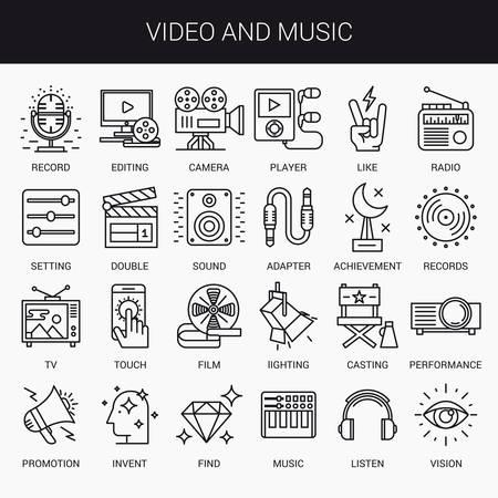 escuchar: iconos lineales simples en un plano estilo moderno. Vídeo y música. Aislado en el fondo blanco.