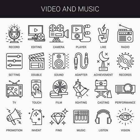 listen music: Simple linear icons in a modern style flat. Video and Music. Isolated on white background. Illustration