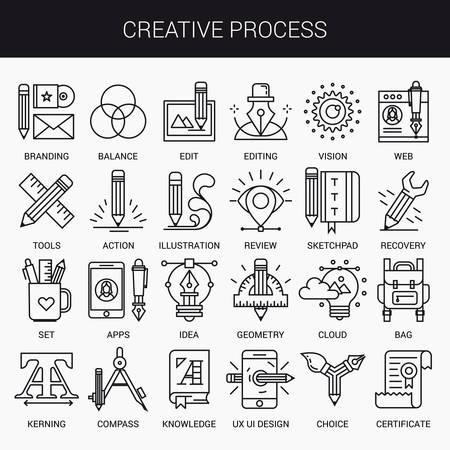 Einfache lineare Symbole in einen modernen Stil flach. Kreativer Vorgang. Isoliert auf weißem Hintergrund.