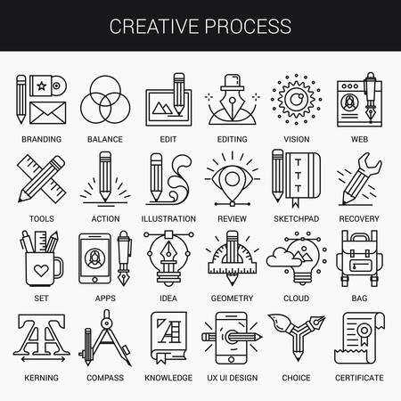 conocimientos: iconos lineales simples en un plano estilo moderno. Proceso creativo. Aislado en el fondo blanco. Vectores