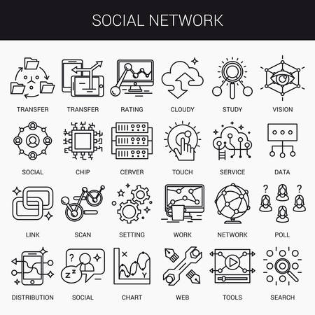Simple linear icons in a modern style flat. The Social Network. Isolated on white background. Illustration