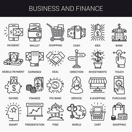 Simple linear icons in a modern style flat. Business and Finance. Isolated on white background.