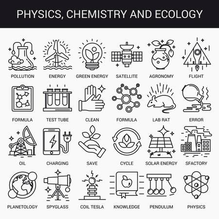 experimento: iconos lineales simples en un plano estilo moderno. Física Química y Ecología. Aislado en el fondo blanco. Vectores