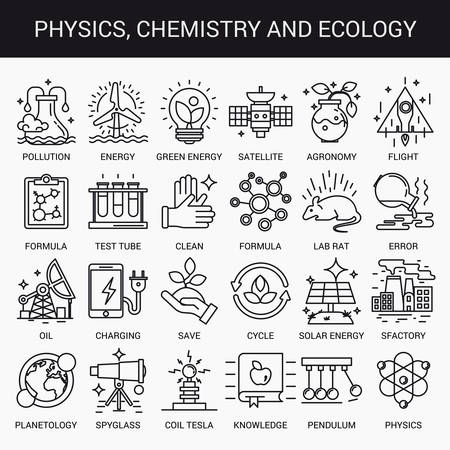 physics: Simple linear icons in a modern style flat. Physics Chemistry and Ecology. Isolated on white background.