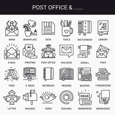 buzon: iconos lineales simples en un plano estilo moderno. Oficina postal. Aislado en el fondo blanco.