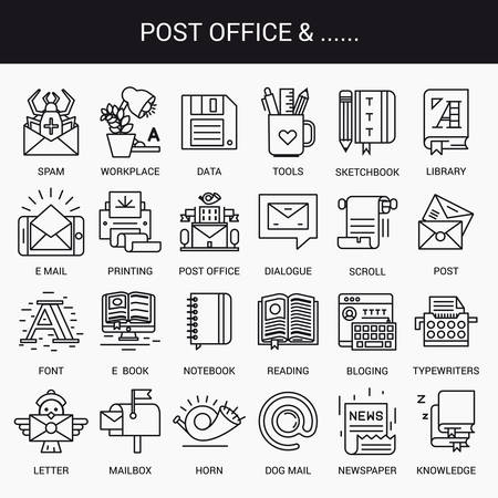 mailbox: Simple linear icons in a modern style flat. Post Office. Isolated on white background. Illustration