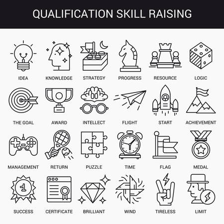 leveling: Simple linear icons in a modern style flat. Advanced Training and Skills Leveling. Isolated on white background.