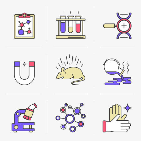approach: Set of vector icons into flat style. Scientific approach, animal studies, a failed experiment. Isolated Objects in a Modern Style for Your Design.
