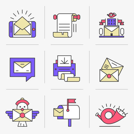 post scripts: Flat Line Icons Set. E-mail, Post Office, a Communication Method. Isolated Objects in a Modern Style for Your Design.