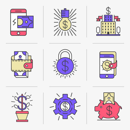 Set of vector icons into flat style. Mobile commerce, online payment, receipt of payments, banking, monetary transactions. Isolated Objects in a Modern Style for Your Design. Illustration