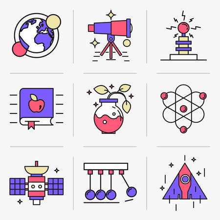 space flight: Set of vector icons into flat style. Scientific experiment, solar system, space flight, range of motion. Isolated Objects in a Modern Style for Your Design. Illustration