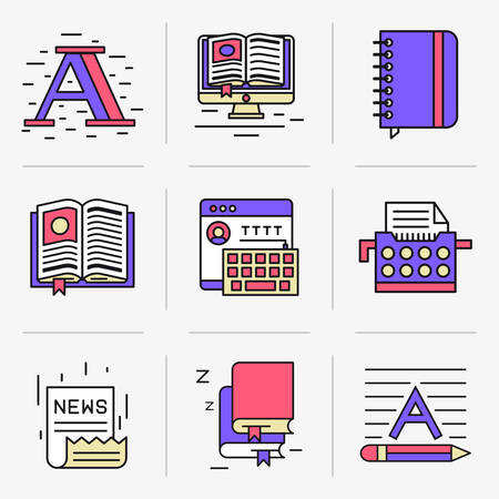 penman: Set of vector icons into flat style. Isolated Objects in a Modern Style for Your Design. Illustration