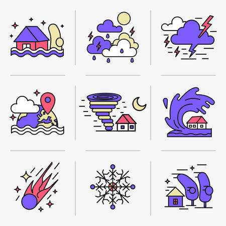 tornadoes: Set of icons into flat style. Emergency, weather and natural disasters. Illustration