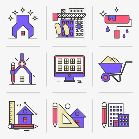 housing style: Set of vector icons into flat style. Design and construction of housing facilities. Isolated Objects in a Modern Style for Your Design. Illustration