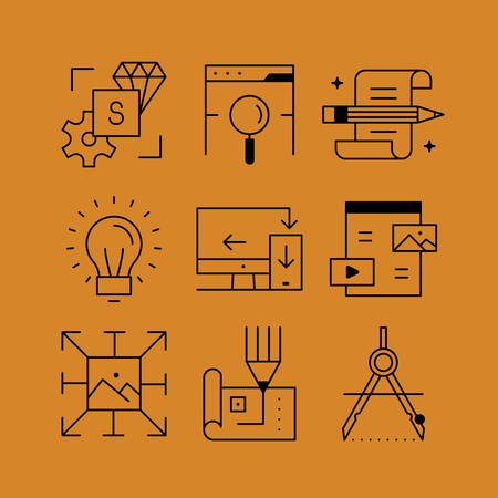 Set of line vectors icons in the flat style. The development and design, prototyping, search the web, responsive web design, content for the site. Vetores