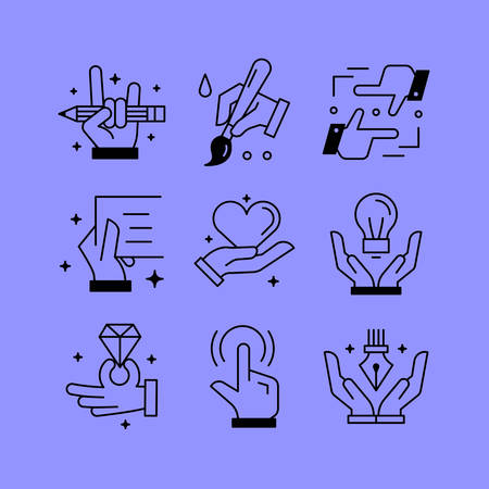 loving: Set of line vectors icons in the flat style. Paintings and drawings, creative tools, hands and creativity. Illustration