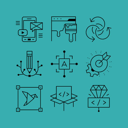 Set of line vectors icons in the flat style. Programming and design, site redesign, mobile apps, digital art.  イラスト・ベクター素材