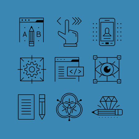 prototypes: Set of line vectors icons in the flat style. A B testing, configuration management and control, visualization, content creation, programming and design. Illustration