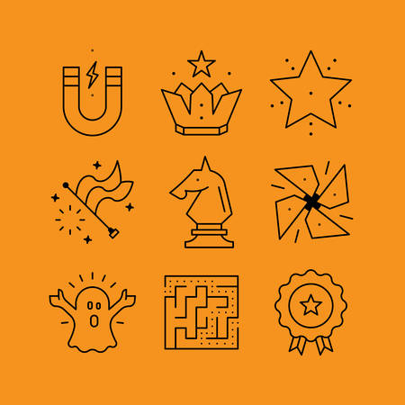 logical: Set of line vectors icons in the flat style. Logical games and puzzles, games strategy, skills and achievements.