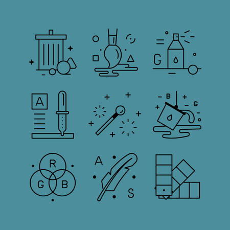 line drawings: Set of line vectors icons in the flat style. A set of creative tools, model and color selection palettes, contemporary art, paintings and drawings.