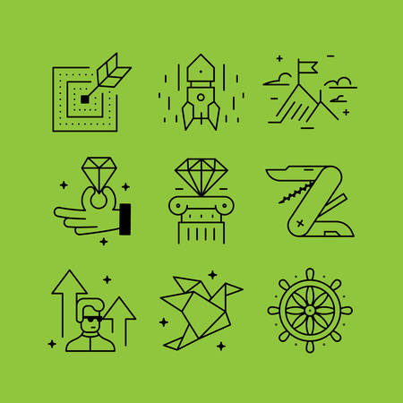 employee development: Set of line vectors icons in the flat style.  Management skills, development and self-improvement, management and control, training of the employee.