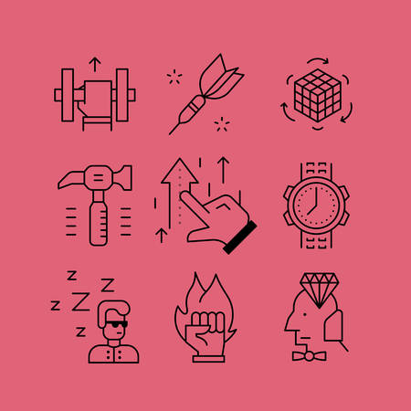leveling: Set of line vectors icons in the flat style. Bleeding and development of skills, improvement of results, teaching and management staff. Illustration