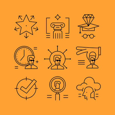 personal development: Set of line icons in the flat style. Knowledge and skills, people management, time management, leveling skills, and personal development. Illustration