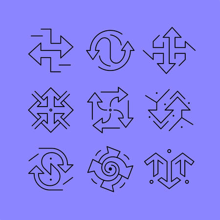 renewal: Set of line icons in the flat style. Business and technology, the arrow symbolizing the direction, renewal, growth.