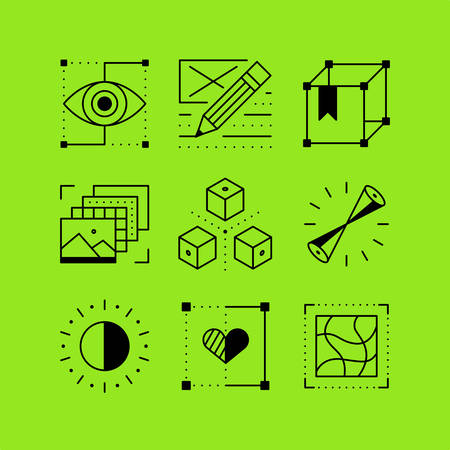 visual art: Set of line icons in the flat style. 3D design and prototyping, resource library, visual art. Illustration