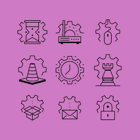 installation: Set of line icons in the flat style. Gears, installation lock, setting the date and time.