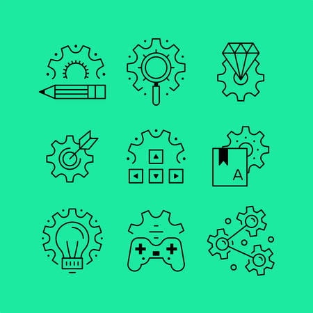 configure: Set of line icons in the flat style. Business and creativity, gaming setup, configure search, configure the library.