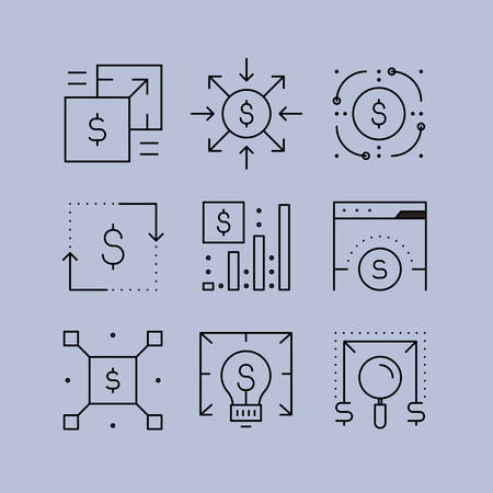 manipulate: Set of line icons in the flat style. Economy Business and Finance, Forex market, foreign exchange transactions.