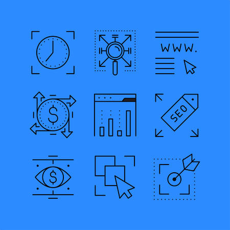 internet surfing: Set of line icons in the flat style. Search engine optimization,  Business and Finance, Internet surfing.