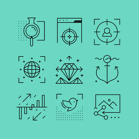 targeted: Set of line icons in the flat style. Social networking, search engine optimization, web technologies. Illustration