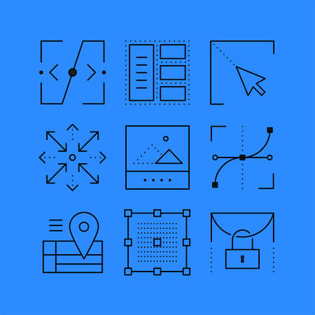 web portal: Set of layout line icons in the flat style.