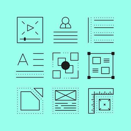 creation of sites: Set of layout line icons in the flat style.