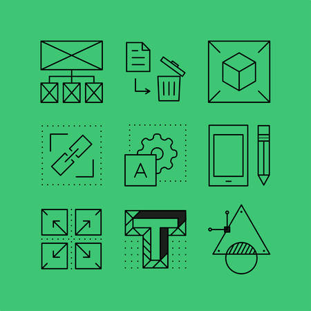 user friendly: Set of line icons in the flat style. Website design, digital art, programming interface, application development and websites. Illustration