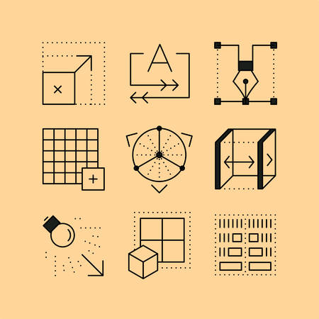 user friendly: Set of line icons in the flat style. Creative software tools, alignment of objects, work with windows, a working interface. Illustration