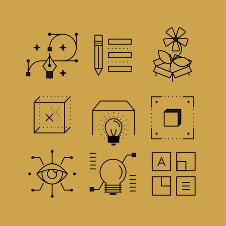 posicionamiento de marca: Conjunto de iconos de líneas en el estilo plano. artes visuales, la tecnología de diseño, gráficos vectoriales, el diseño de la página web. Vectores