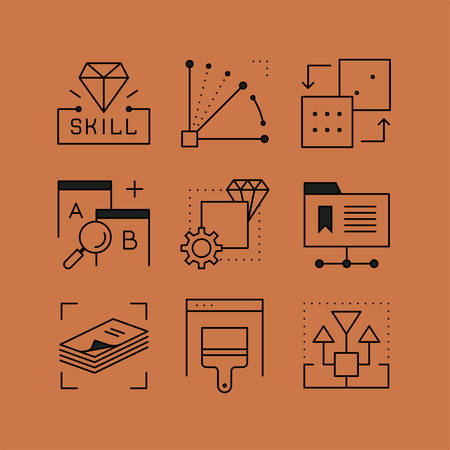 user friendly: Set of Creative skills line icons in the flat style.