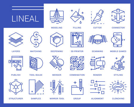 Line icons in a modern style. 3D design, working with objects, tools for 3D modeling, scanning and recognition of shapes, 3D printing, game design, polygonal modeling, rendering.