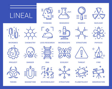 doctrine: Line icons in a modern style. Scientific experiments, physics and chemistry, biology, microbiology, nuclear, biological weapons of mass destruction, medical testing on animals.