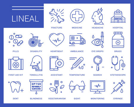 Line icons in a modern style. Medical assistance online, hospitalized patients, first aid kit, vision loss, emergency medical care, dental care, vegetarianism and healthy lifestyle