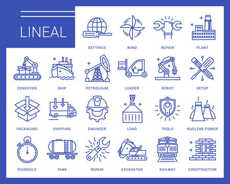 engeneering: Line icons in a modern style. Heavy industry, delivery of goods by land, air and sea transport, species by professional activities, railways, conveyer Illustration